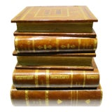 Image of 1980s Figurative Maitland Smith Leather Stacked Books Side Table For Sale