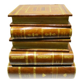 1980s Figurative Maitland Smith Leather Stacked Books Side Table For Sale