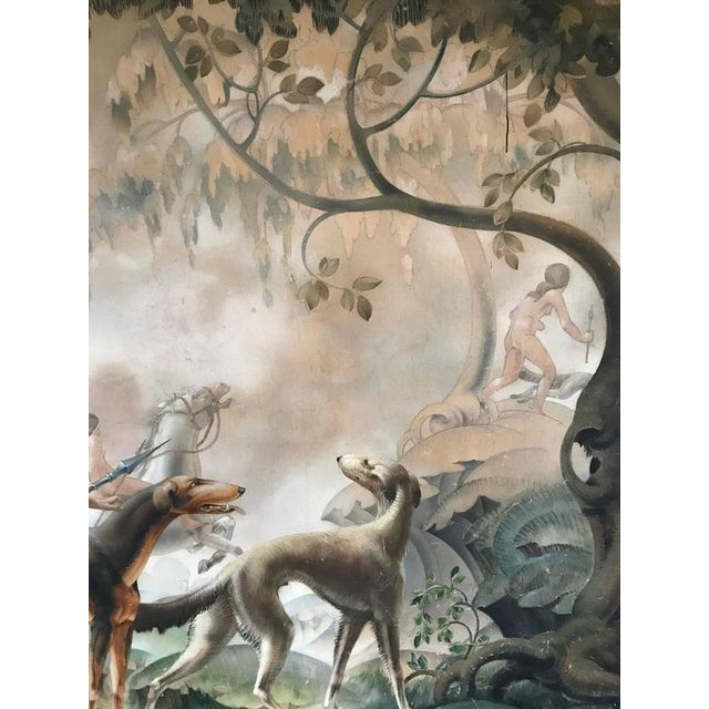 A large and impressive Art Deco oil on canvas mural of Diana the Huntress. Scene depicts Diana with her hounds leading...