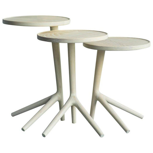White Ash Tripod Nesting End Tables - Set of 3 For Sale - Image 10 of 10