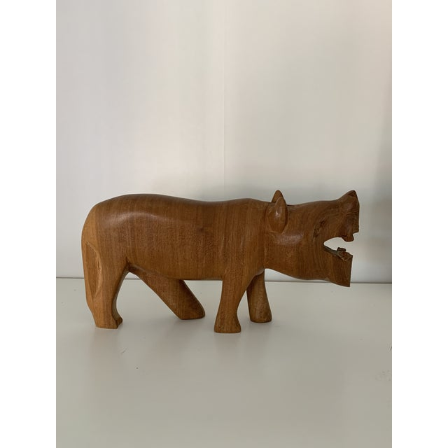 Early 20th Century Vintage Hand Carved Wooden African Hippo For Sale - Image 5 of 6