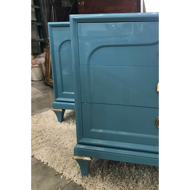 Outstanding pair of Mastercraft chests in good vintage condition. The chests are in light sky blue color with their...
