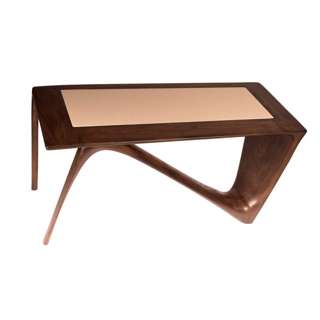 Wood Amorph Astra Desk, Rectangular Shape, Graphite Walnut Finish For Sale - Image 7 of 9