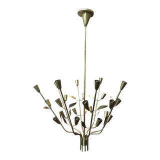 1950s Italia Brass Chandelier with Floral Motif For Sale