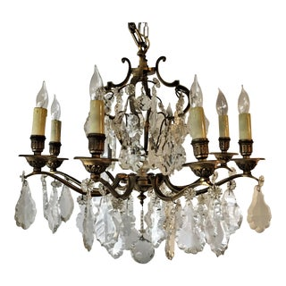 French Bronze & Cut Crystal Chandelier For Sale