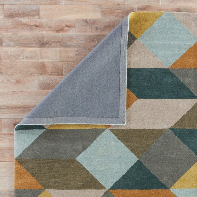Contemporary Luli Sanchez by Jaipur Living Ojo Handmade Geometric Gold Teal Area Rug 5'X8' For Sale - Image 3 of 6