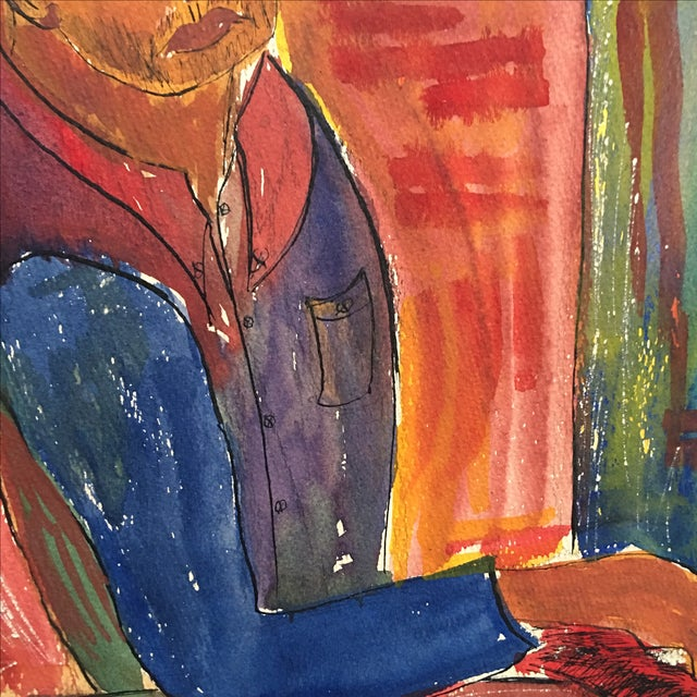 Vintage Abstract Painting Portrait of a Man - Image 10 of 11