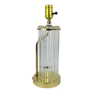 Vintage Brass And Glass Rod Side Table Lamp For Sale
