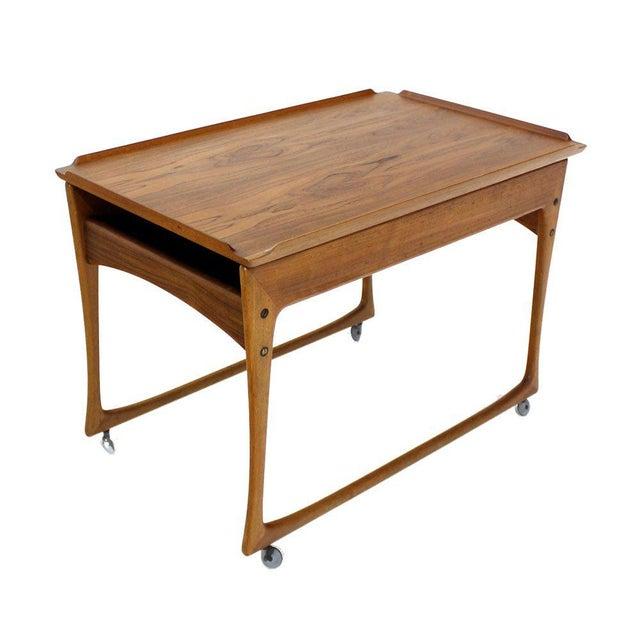 Danish Modern Rolling Teak Bar Cart For Sale - Image 9 of 9