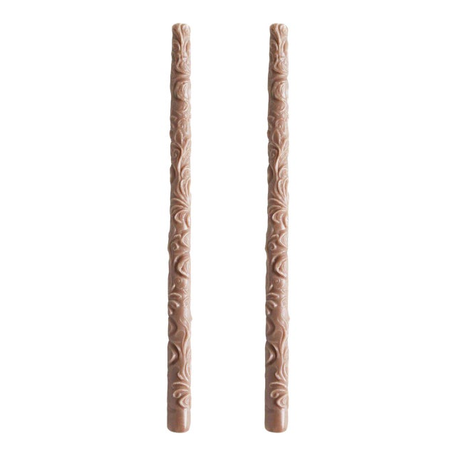 Flora Taper Beeswax Candles in Fawn - a Pair For Sale