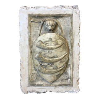 19th C Italian Cast Stone Coat of Arms Wall Sculpture For Sale