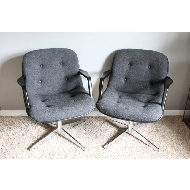 1980s Vintage United Chair Tufted Grey Tweed Pollock Style Chairs- A Pair For Sale - Image 10 of 10
