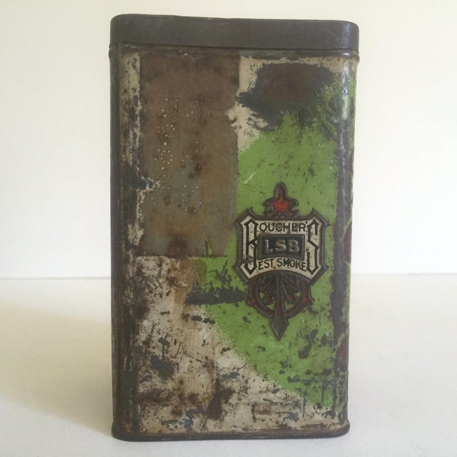 "Vintage Early 1900's ""Boucher's Handmade"" Tobacco Tin Box For Sale - Image 5 of 11"