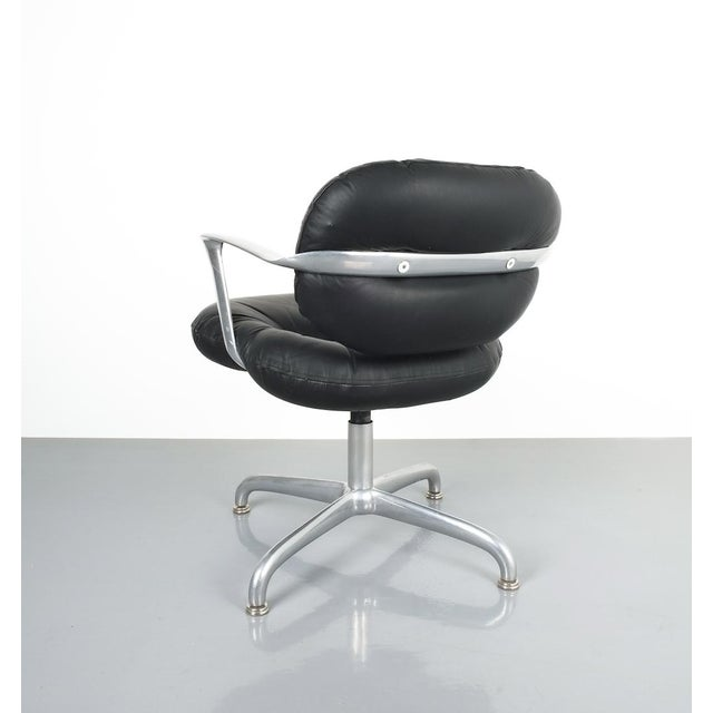 Silver Pair Morrison and Hannah Knoll Office Chair Aluminum Black Leather, 1975 For Sale - Image 8 of 9