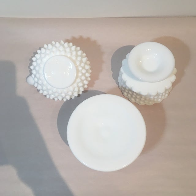 Glass Fenton Hobnail Milk Glass Candle Holders - Set of 3 For Sale - Image 7 of 7