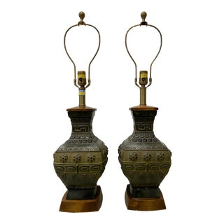 Mid-Century Bronze Urn Lamps by Marbro C.1950 - a Pair For Sale