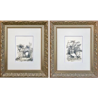 19th C. French Graphite Landscape Drawings For Sale
