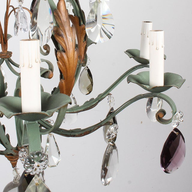 1940s Vintage French 8-Light Painted Iron and Crystal Chandelier For Sale - Image 5 of 12