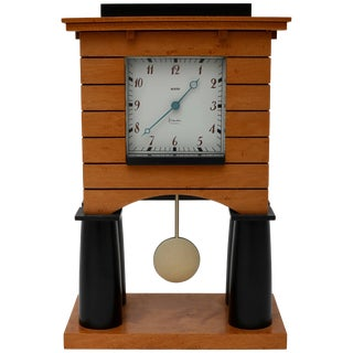 Postmodern Mantle Clock by Michael Graves for Alessi 1986 Maple For Sale