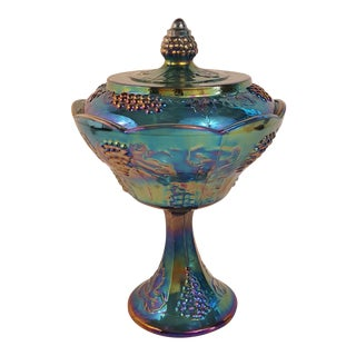 Indiana Carnival Glass Blue Harvest Lidded Wedding Bowl For Sale