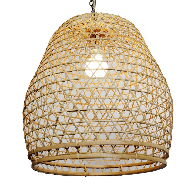 Hand crafted natural raw wicker fish basket lantern. Simple design for use indoor or under cover outdoor use / finish may...