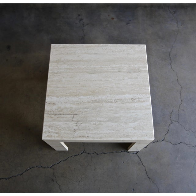 Vintage Travertine Side Table Circa 1980 For Sale - Image 11 of 13