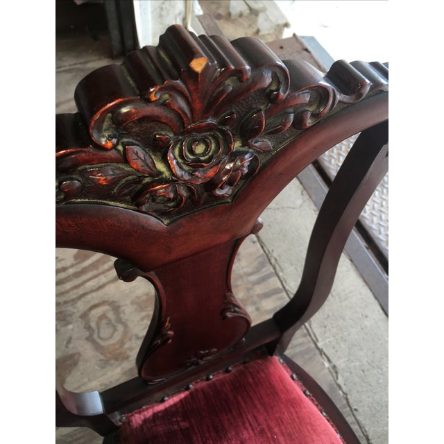 Rosette-Carved Victorian Chair - Image 5 of 8