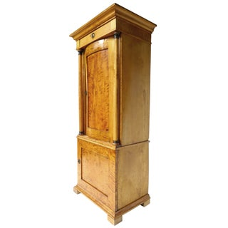 19th Century Biedermeier Sycamore Pedestal Cabinet For Sale
