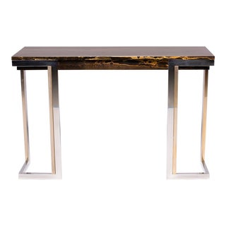 French Modern Faux Marble Console With Chrome Legs For Sale