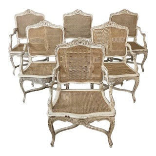 Pair 19th Century Country French Caned Painted Armchairs (3 Pair Available, Sold Per Pair)