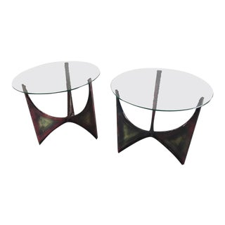 Paul Evans Style Brutalist Iron Side Tables - a Pair