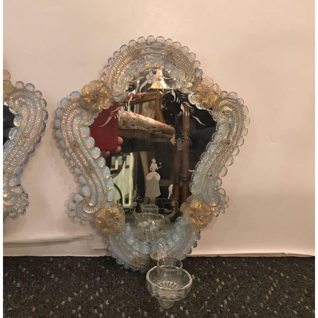 Traditional Venetian Glass and Etched Mirrored Candle Sconces - a Pair For Sale - Image 3 of 9