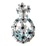 Image of French Aqua Blue Flower Ball Crystal Prisms Maison Baguès Style Chandelier For Sale