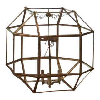 Morris Gilded Iron Clear Glass Lantern For Sale