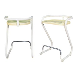Lammhults Banana Yellow and White Barstools- A Pair For Sale