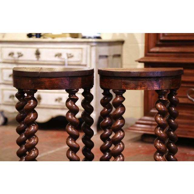 Mid-19th Century Louis XIII Oak Barley Twist Demilune Side Tables - a Pair For Sale - Image 4 of 9