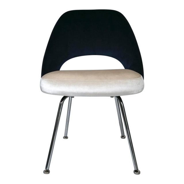 Saarinen Executive Armless Chairs in Ivory/Navy Velvet, Set of Six - Image 1 of 10