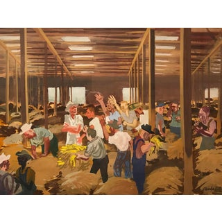 Tobacco Auction Painting by Charles Keller 1950s For Sale