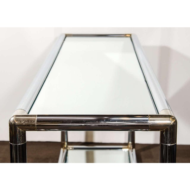 Silver Italian Mid-Century Modern Mirrored and Chrome Two Tier Console Table, C. 1970 For Sale - Image 8 of 12