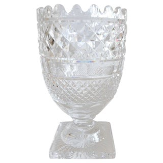 Large Waterford Cut Crystal Footed Vase For Sale