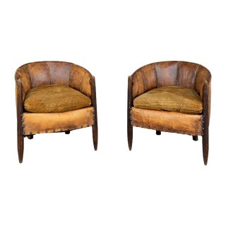 Antique French Leather & Velvet Barrel Back Chairs - a Pair For Sale