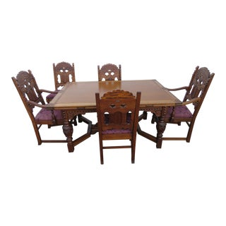 Heavy Carved Jacobean Dining Set Refractory Table and 5 Chairs For Sale
