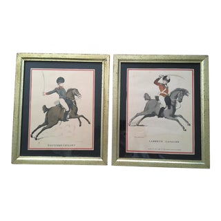 Antique Prints After Thomas Rowlandson: Deptford Cavalry & Lambeth Cavalry, Framed - a Pair For Sale