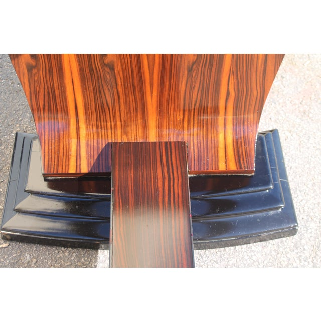 C 1930's French Art Deco Exotic Macassar Ebony Dining Table For Sale - Image 4 of 12