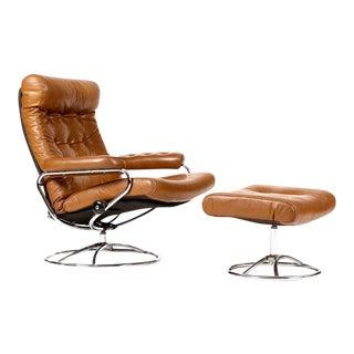1960s Danish Modern Ekornes Lounge Chair + Ottoman - 2 Pieces For Sale