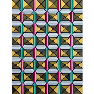 Modern Geometric Oil Painting by Natasha Mistry For Sale