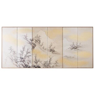 Japanese Six Panel Edo Ink on Paper Landscape Screen For Sale