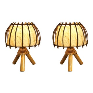French Riviera Charming Bamboo Pair of Table Lamps For Sale