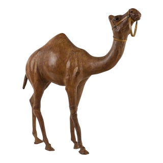 Vintage Large Camel Leather Sculpture, 1960s