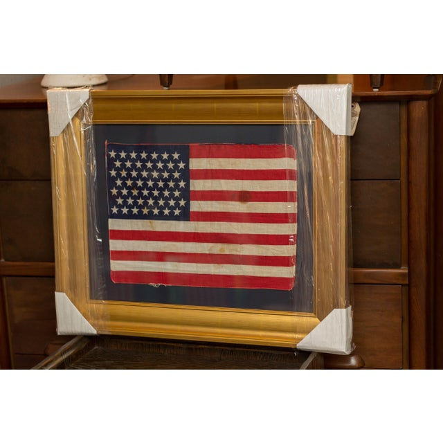Bronze Authentic 49 Star Professionally Framed American Flag Rare Original For Sale - Image 7 of 10